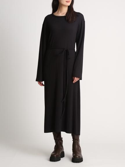 背後交錯羅紋剪裁連身裙