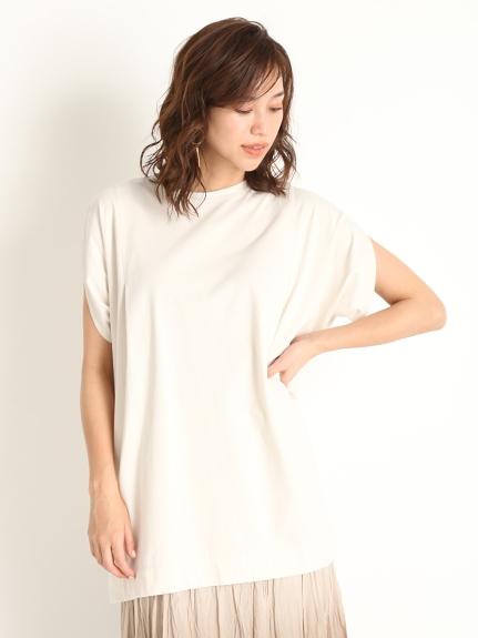 抓褶袖長版T-Shirt