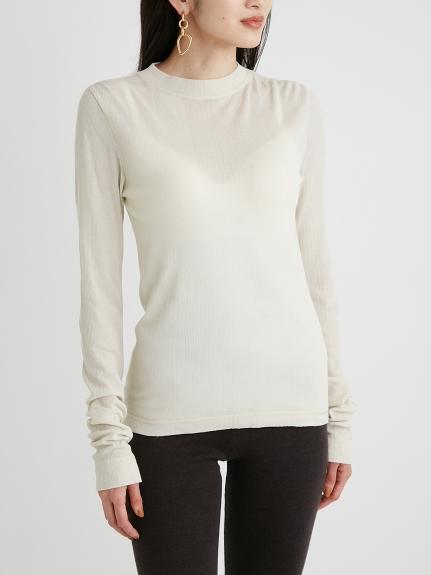 透膚羅紋針織合身T-Shirt