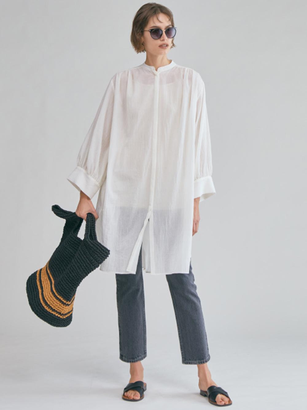 立領抓褶長版襯衫