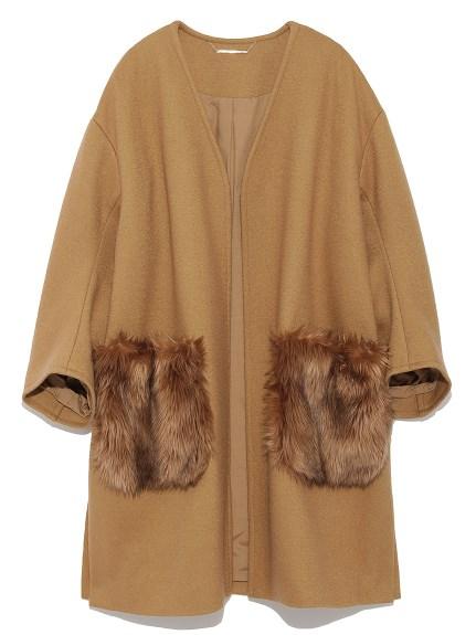 毛絨口袋開襟大衣