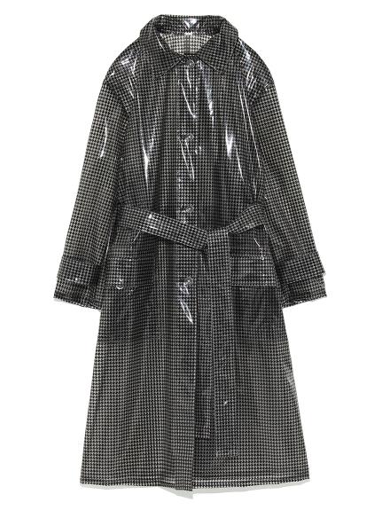 PVC千鳥格長版外套