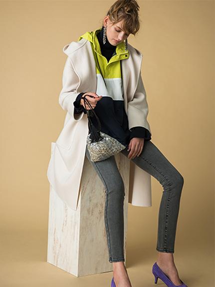 羊毛開襟綁帶大衣