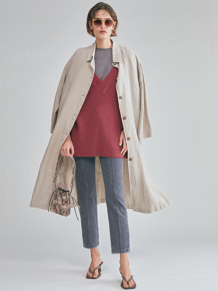 亞麻長版襯衫外套