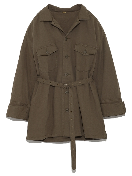繫帶襯衫夾克