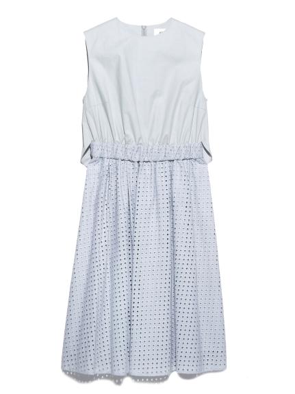 拼接點狀簍空洋裝