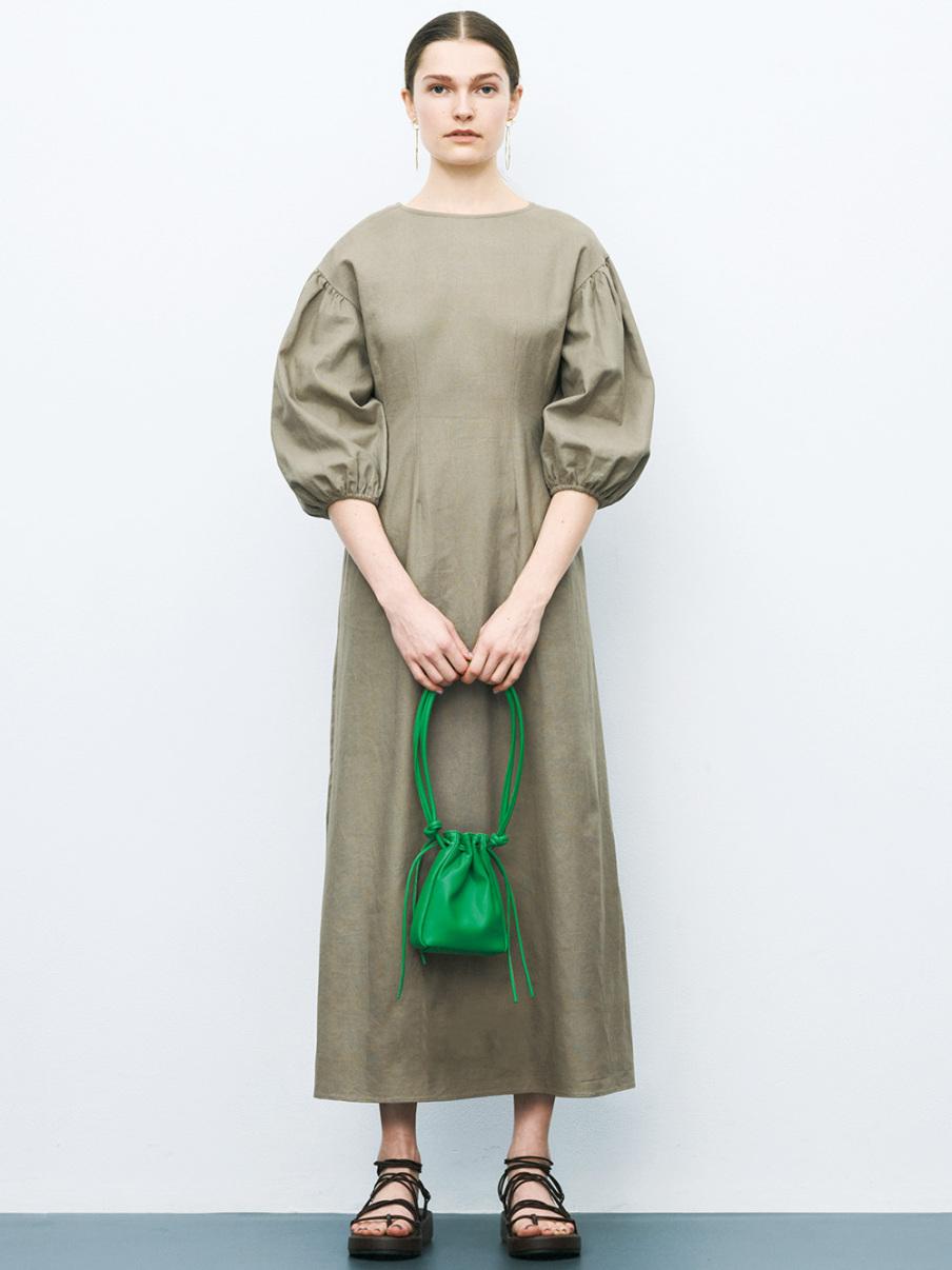 公主袖亞麻洋裝