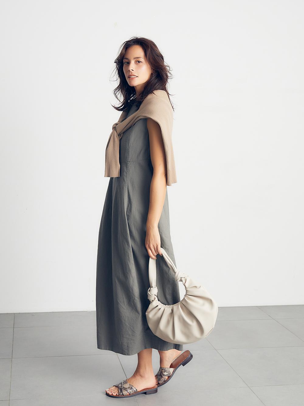 亞麻混紡繭型洋裝