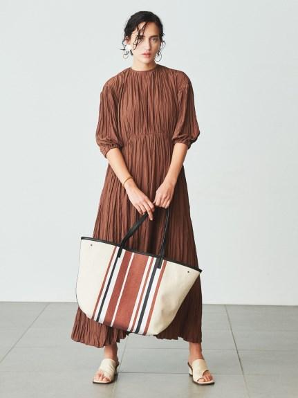 水洗棉抓褶及踝連身裙