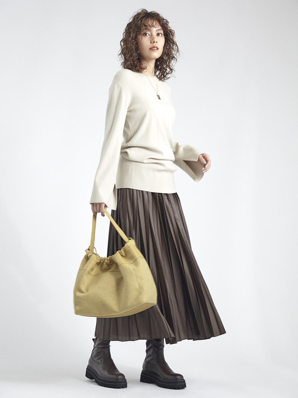 皮革光澤百褶層次連身裙