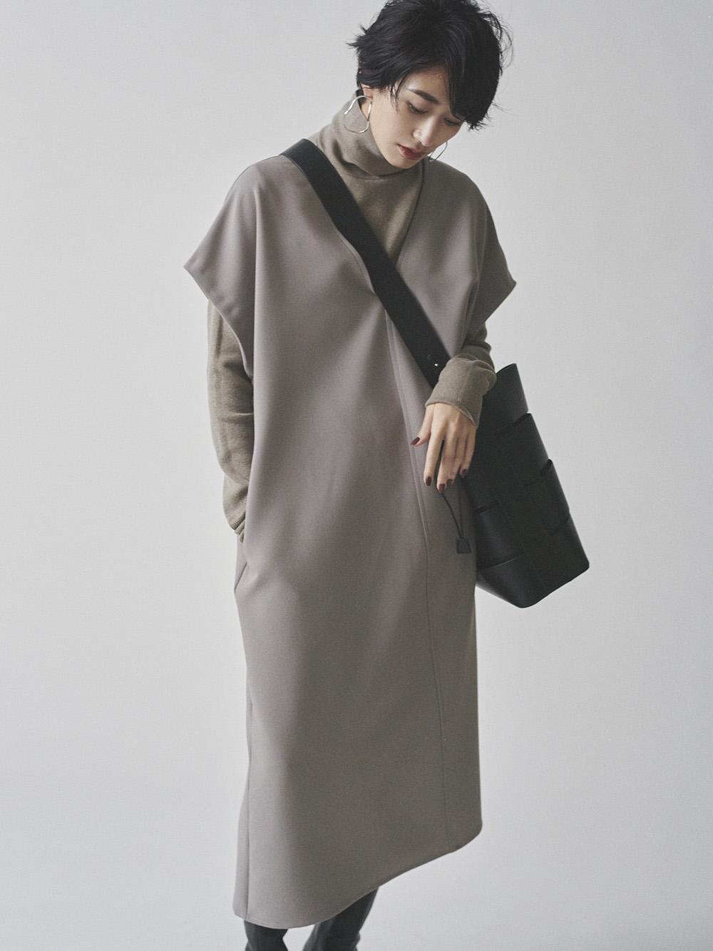 高領層次深V背心連身裙