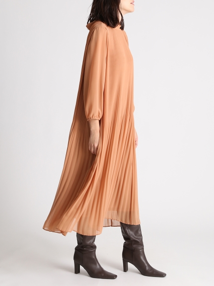 背部綁帶百褶連身裙