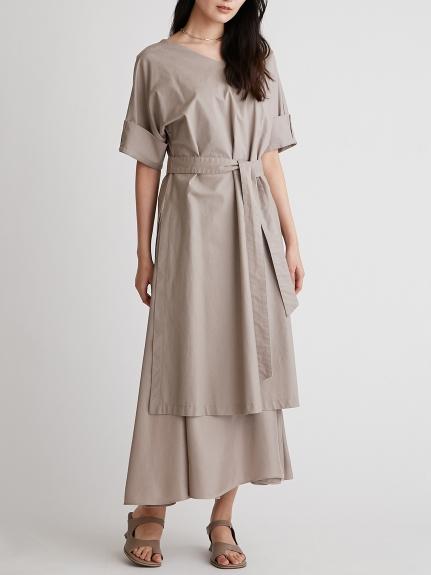 造型袖兩件式層次連身裙