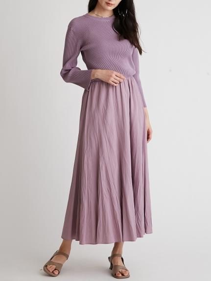 針織拼接傘襬連身裙
