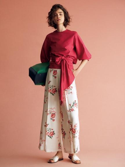 花卉刺繡風寬褲