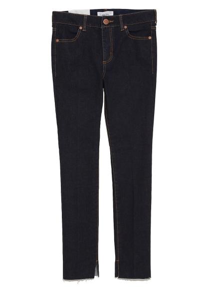 開衩窄版牛仔褲