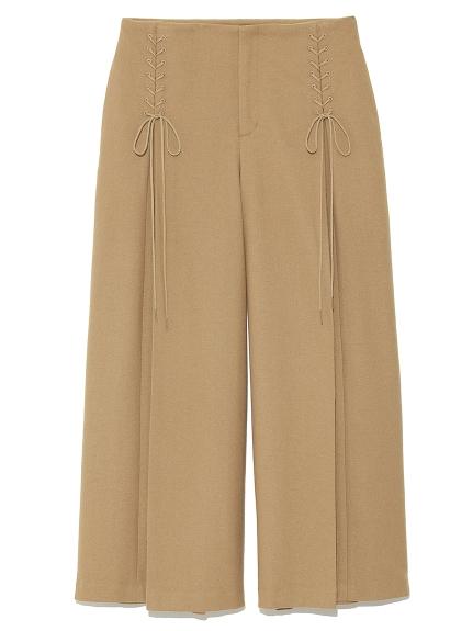 側綁帶造型寬褲