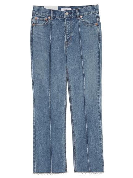 打摺不修邊剪裁牛仔褲