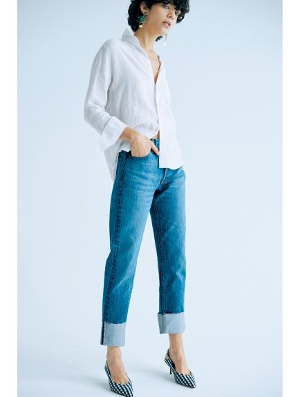 反摺造型直筒牛仔褲