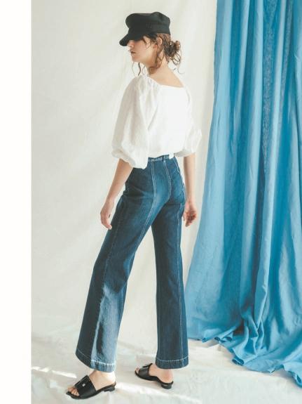 排釦造型牛仔寬褲