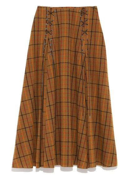 格紋交叉綁帶荷葉長裙