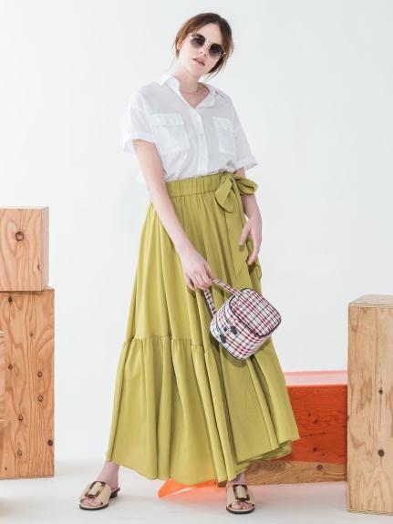 夏日側綁細皺長裙