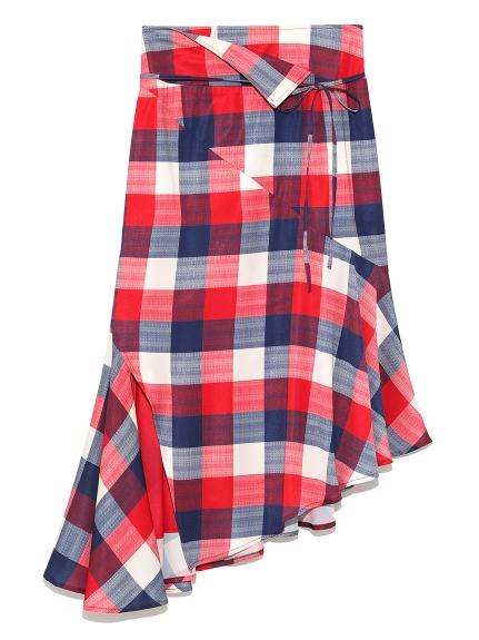 不規則剪裁格紋中長裙