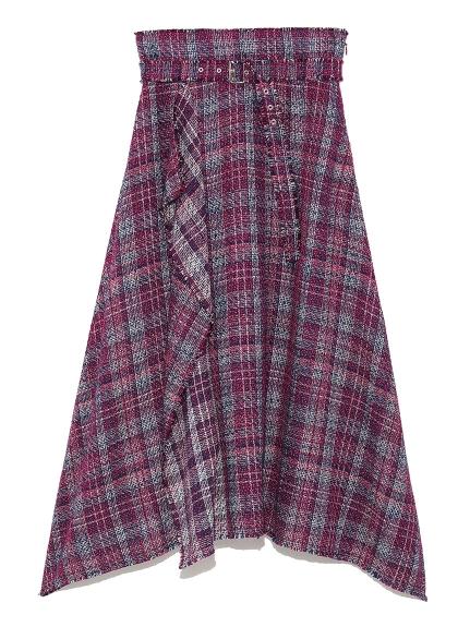 不規則襬斜紋中長裙