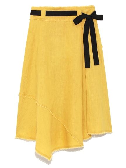 亞麻配色綁帶長裙