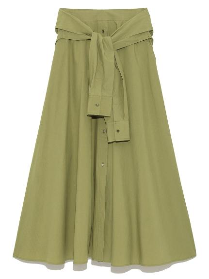 仿襯衫綁帶排扣長裙