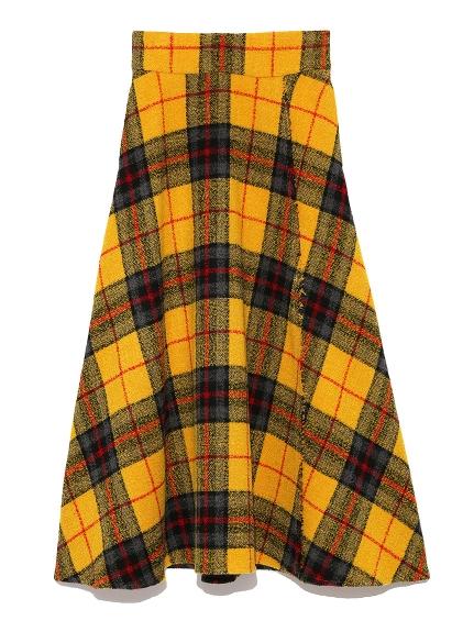 混羊毛寬格紋長裙