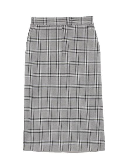 格紋過膝窄裙