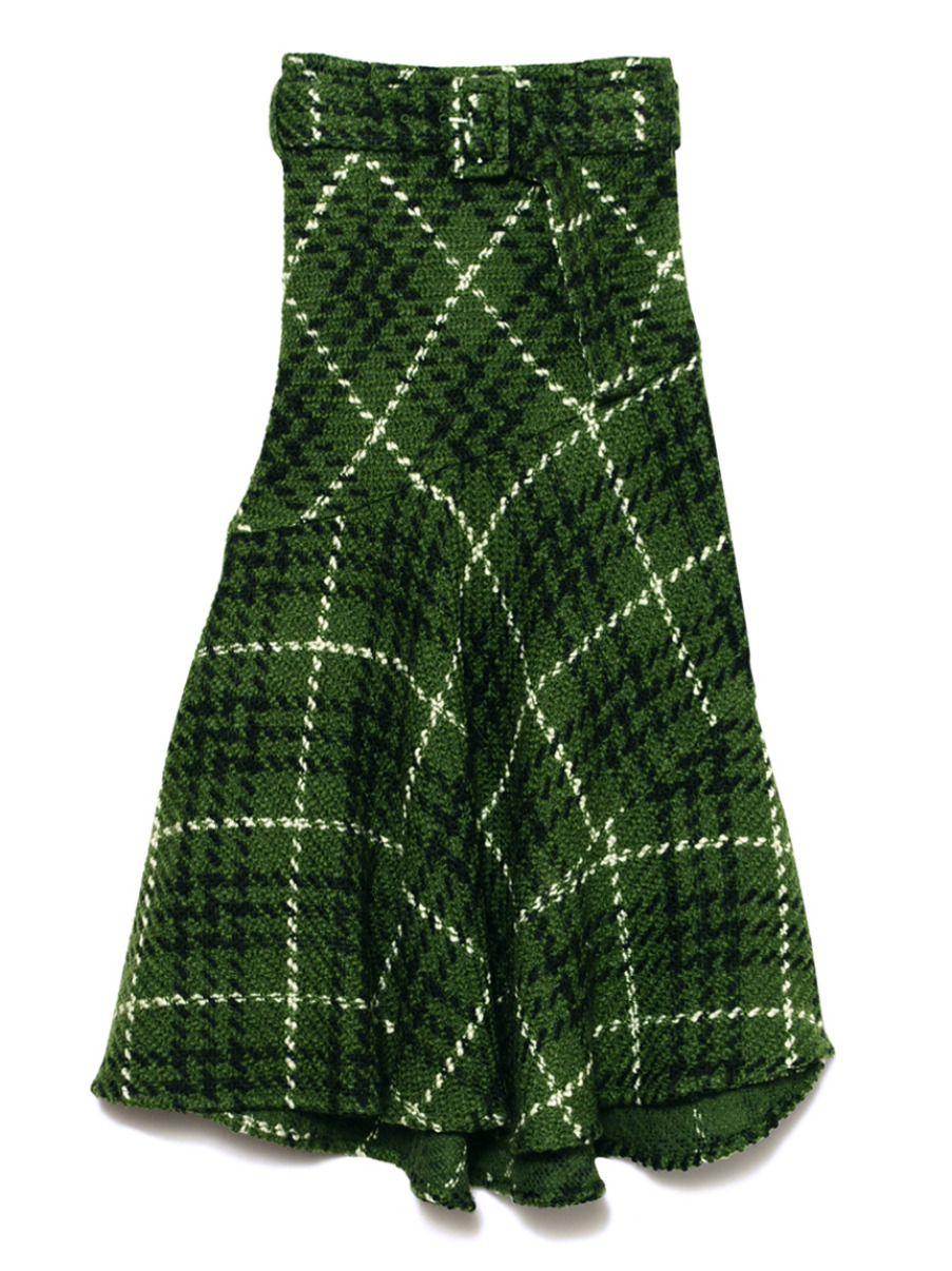 格紋魚尾長裙
