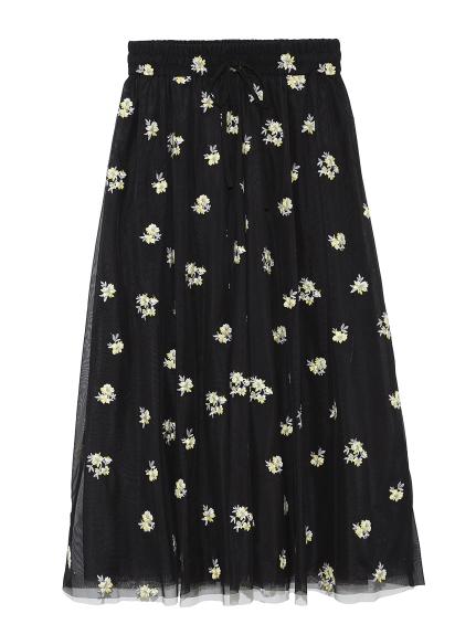 花柄刺繡紗裙