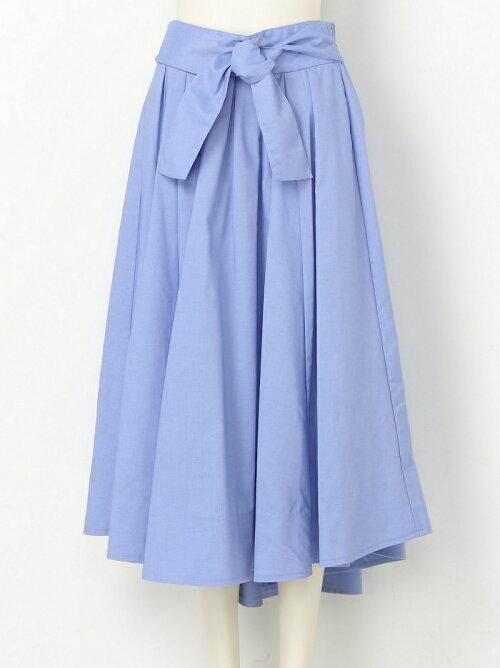 腰部綁帶亞麻中長裙