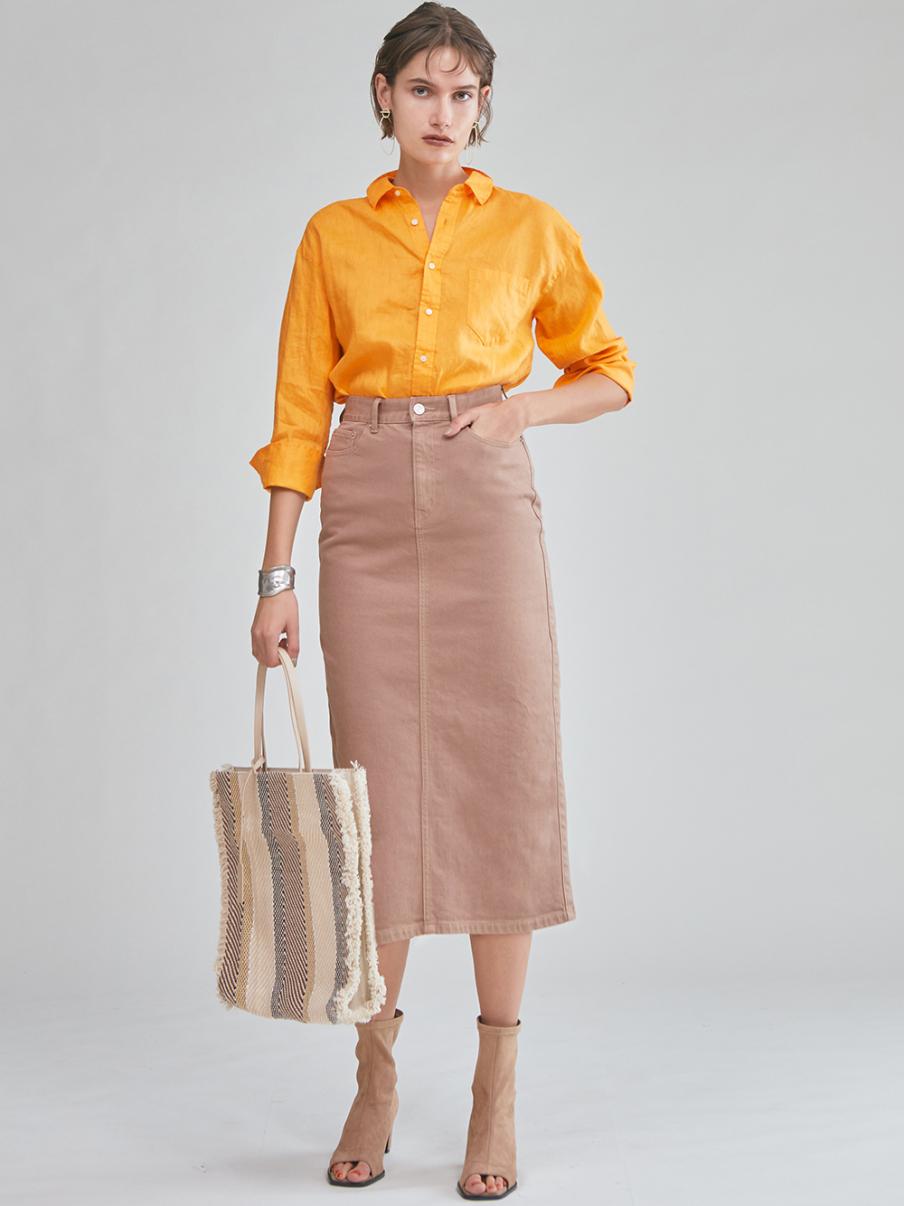 直筒丹寧中長裙