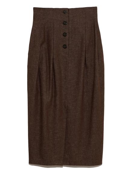 正面鈕釦摺飾繭型長裙
