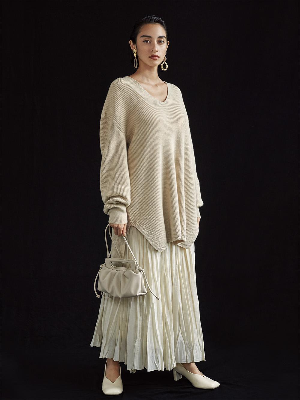 羊毛混紡水洗棉長裙