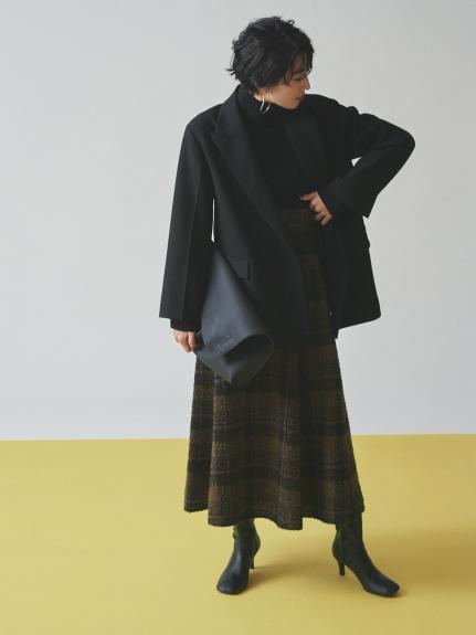 圈紗格紋及踝傘襬裙
