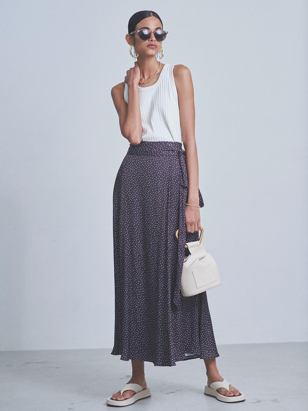 緞澤及踝飄逸長裙