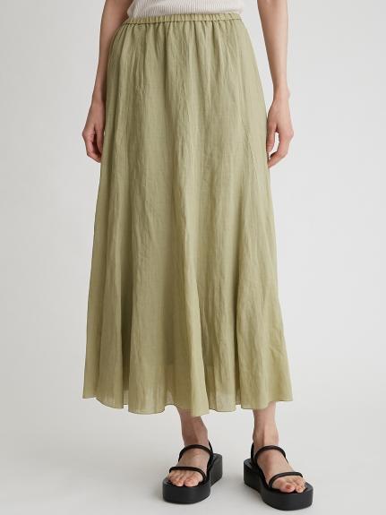 彈性腰圍苧麻傘裙