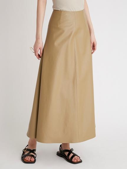 皮革調修身傘襬長裙