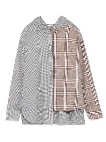 不規則襬格紋襯衫