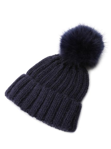 毛球造型針織帽