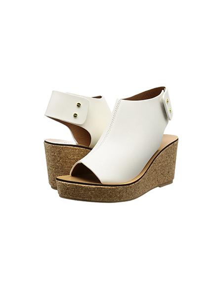 皮質楔形魚口鞋