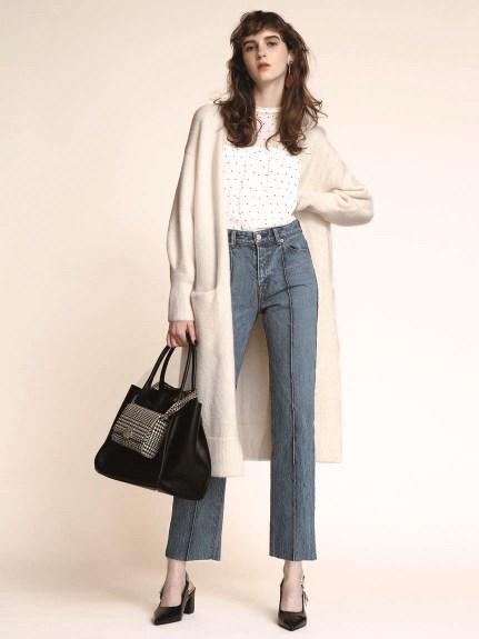 混羊毛開襟長版外套