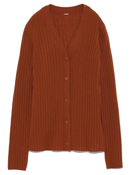 羊毛羅紋V領開襟衫