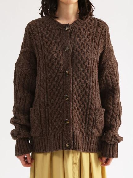 圓領麻花粗針織開襟衫