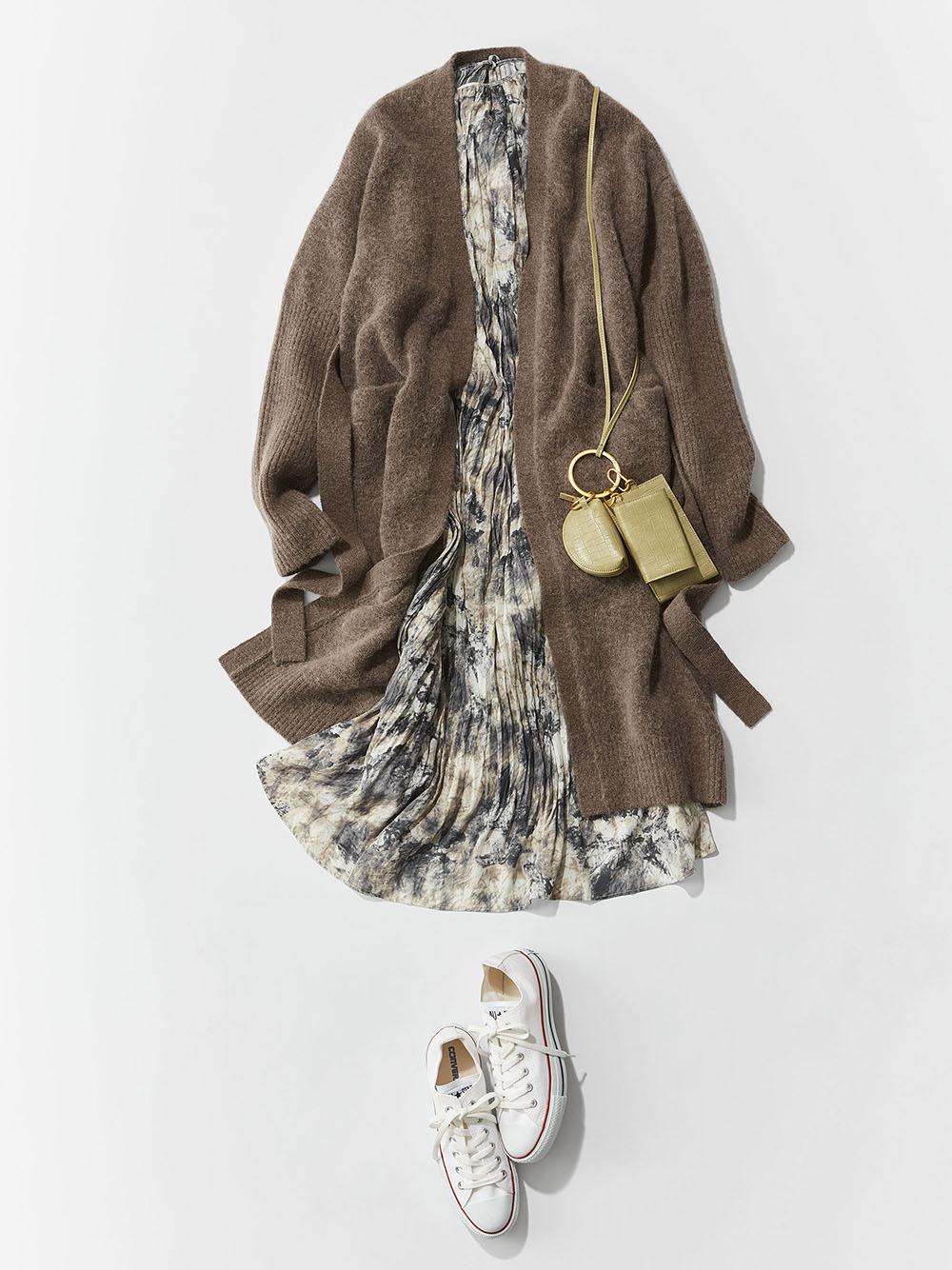 羅紋袖口針織長袍外套