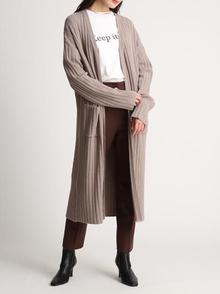 圈紗寬羅紋長版針織外套